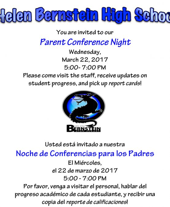 Parent Conferences **Next Wednesday** March 22nd